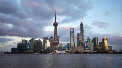 time lapse Shanghai skyline at dusk,world urban economic... Stock Video Footage