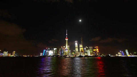 time lapse Shanghai at night,world financial hub neon... Stock Video Footage