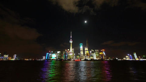 time lapse Shanghai at night,world financial hub neon light reflect huangpu rive Animation