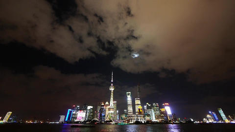 time lapse Shanghai at night,Brightly lit ship passing world economic hub Animation