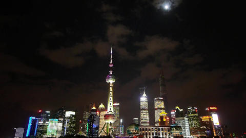 time lapse Shanghai at night,flying cloud cover world... Stock Video Footage