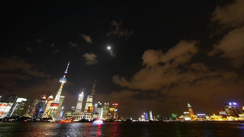 Shanghai at night,world financial center building neon... Stock Video Footage