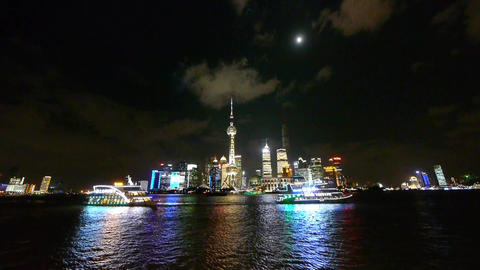 shanghai at night,Brightly lit world economic center... Stock Video Footage