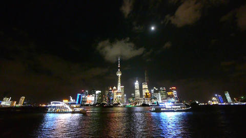 shanghai at night,Brightly lit world economic center building Animation