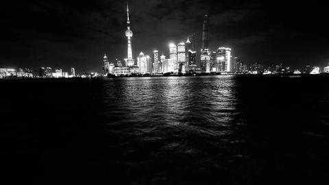 Shanghai bund at night,Brightly lit world financial center building Animation
