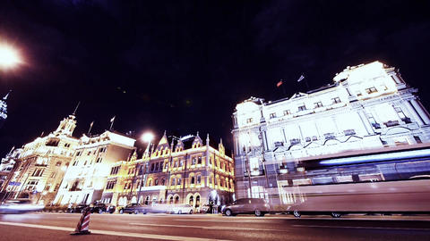 time lapse Shanghai bund traffic at night,old-fashioned... Stock Video Footage