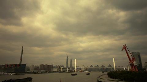busy shipping on river,across the sea bridge,modern urban... Stock Video Footage