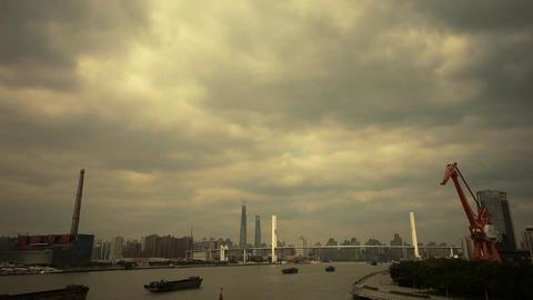 busy shipping on river,across the sea bridge,modern urban... Stock Video Footage