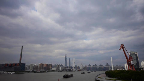 time lapse,busy shipping on river,across the sea... Stock Video Footage