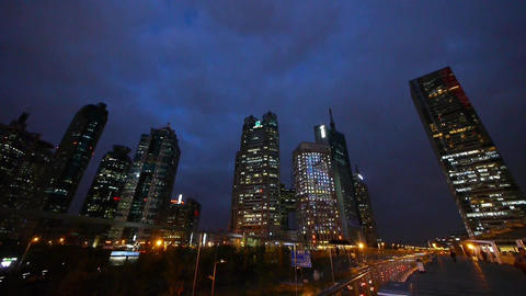 urban building & traffic at night,shanghai pedestrian... Stock Video Footage