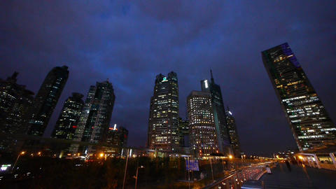 urban building & traffic at night,shanghai pedestrian walking on overpass Animation