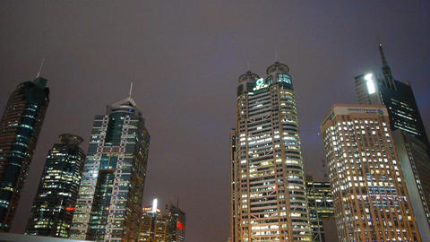 urban building,shanghai pudong business center at night Stock Video Footage