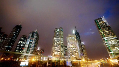 time lapse shanghai traffic at night,Brightly lit... Stock Video Footage