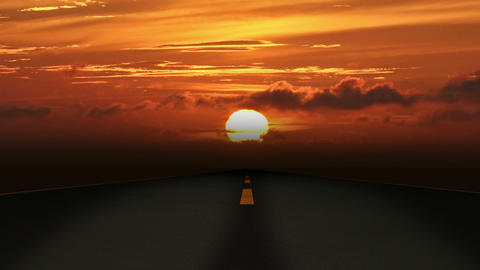 Road Sunset 01 stock footage