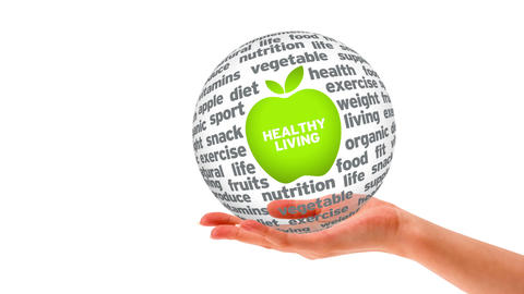 Healthy Living Word Sphere Stock Video Footage