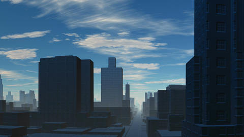Town and blue sky Animation