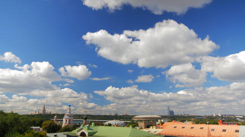 Above View Moscow Cityscape And Blue Clouds Time L stock footage