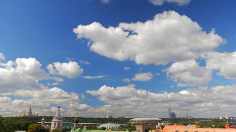 above view Moscow cityscape and blue clouds time l Footage