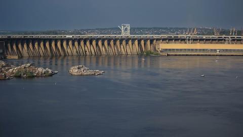 Sunset Light on Hydro Dam in Zaporizhzhya, Ukraine Stock Video Footage
