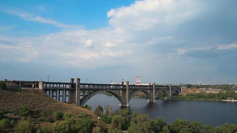 Bridge to Khortytsia isle at Sunny Day Stock Video Footage
