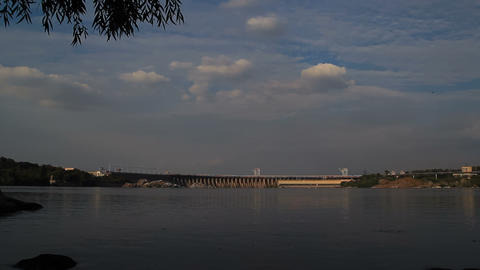 Sunset Light On Hydro Dam In Zaporizhzhya, Ukraine stock footage