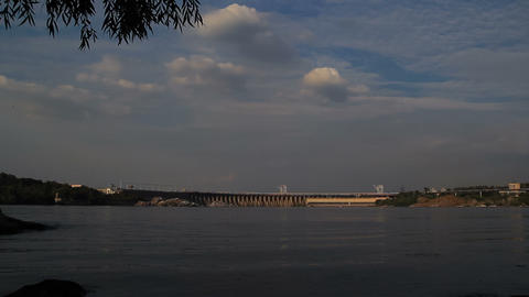 Sunset Light on Hydro Dam in Zaporizhzhya, Ukraine Stock Video Footage