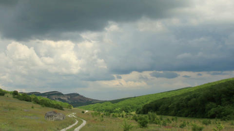 Movement of the clouds on the mountain. Valley Biy Stock Video Footage