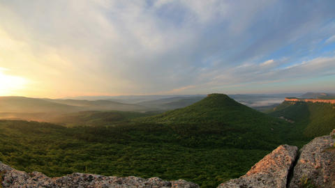 Timelapse sunrise in the mountains. Cave city Tepe Stock Video Footage