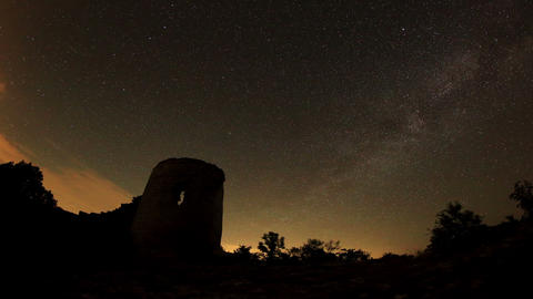 Time lapse of stars behind Syuyrenskaya fortress V Stock Video Footage