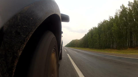 Driving on a highway along the forest Stock Video Footage