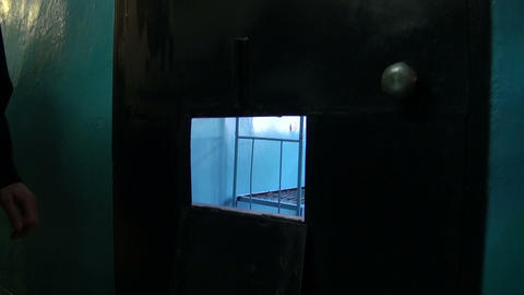 The door of a prison cell Stock Video Footage