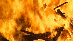 Fire pyre burning wood detail Stock Video Footage