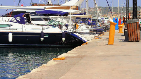 yachts at berth Stock Video Footage