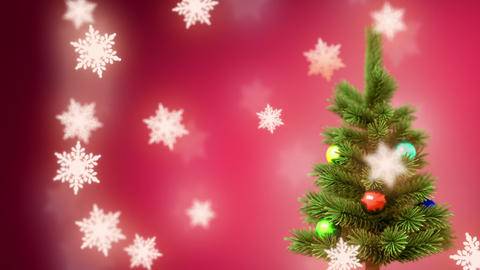 Christmas tree and falling snowflakes Animation