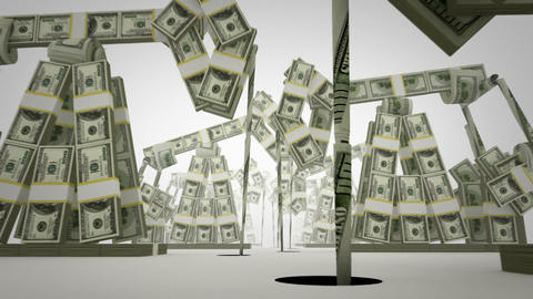 Oil derricks made of money Stock Video Footage