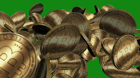 Many Gold bitcoin coins flying in air on Green Background,Virtual Currency Animation