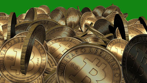 Many Gold bitcoin coins flying in air on Green... Stock Video Footage