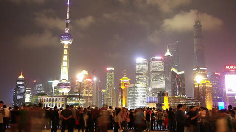 Shanghai Oriental Pearl at night,busy tourist,crowd,Lujiazui financial center Animation