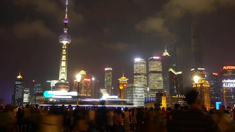 Shanghai Oriental Pearl at night,busy... Stock Video Footage