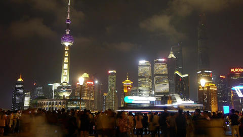 Shanghai Oriental Pearl at night,busy tourist,crowd,Lujiazui economic center Animation