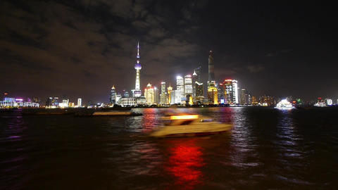 time lapse Shanghai bund at night,Brightly lit world... Stock Video Footage