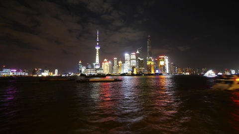 time lapse Shanghai bund at night,Brightly lit world financial center building Animation