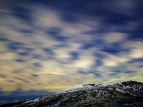 Milky Way above the volcano Etna. Time Lapse Footage
