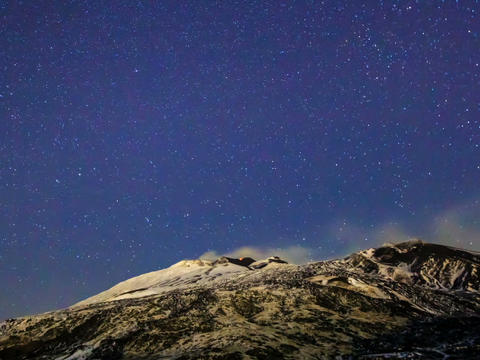 Milky Way above the volcano Etna. Time Lapse Stock Video Footage