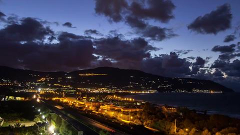 Sunset over the coast of Sicily. Patti, Italy. Tim Footage