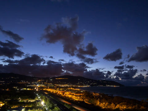 Sunset over the coast of Sicily. Patti, Italy. Tim Stock Video Footage