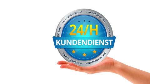 24 hour customer service (In German) Stock Video Footage