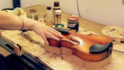 Music repair lab girl caressing violin Stock Video Footage