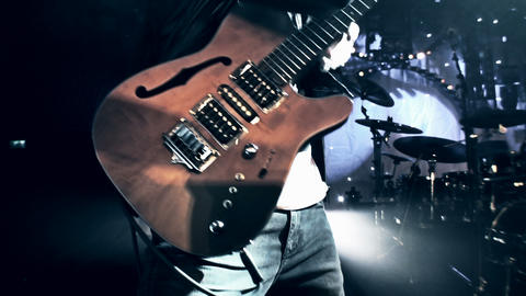 Rock guitarist at live concert Stock Video Footage