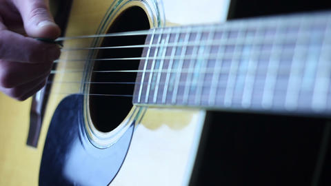 Acoustic guitar strumming right hand Stock Video Footage